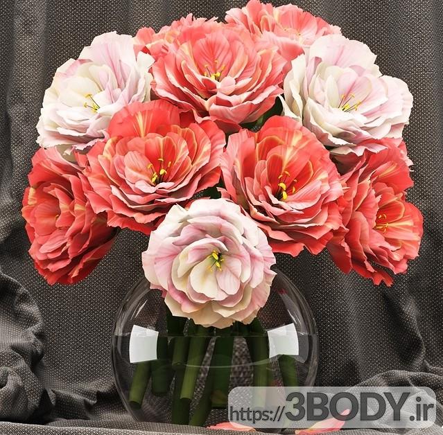 آبجکت سه بعدی دسته گل رز قرمز عکس 1