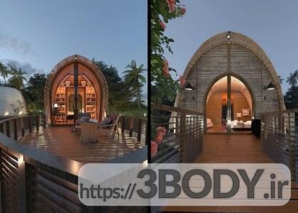 صحنه خارجی ویلا و کلبه چوبی برای sketchupt عکس 5