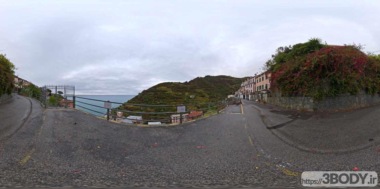 فایل HDRI خارجی جاده صخره ای ابری عکس 1