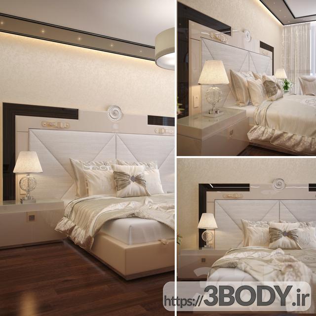 مدل سه بعدی تخت خواب تک نفره عکس 3