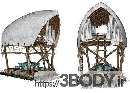 صحنه آماده خارجی اسکچاپ کلبه چوبی HOUSES-VILLAS عکس 5