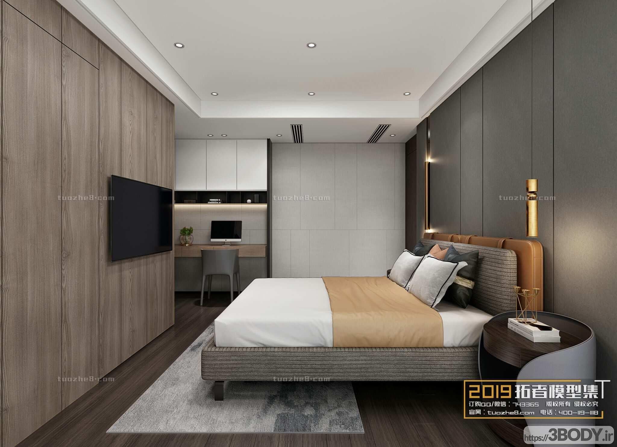 صحنه های آماده اتاق خواب به سبک مدرن عکس 1