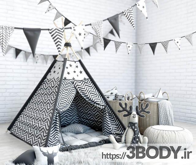 مدل سه بعدی اتاق کودک تخت خواب کودک عکس 1