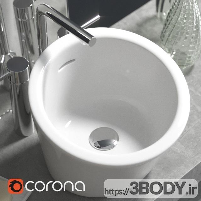 آبجکت سه بعدی دستشویی با دکوراسیون عکس 3