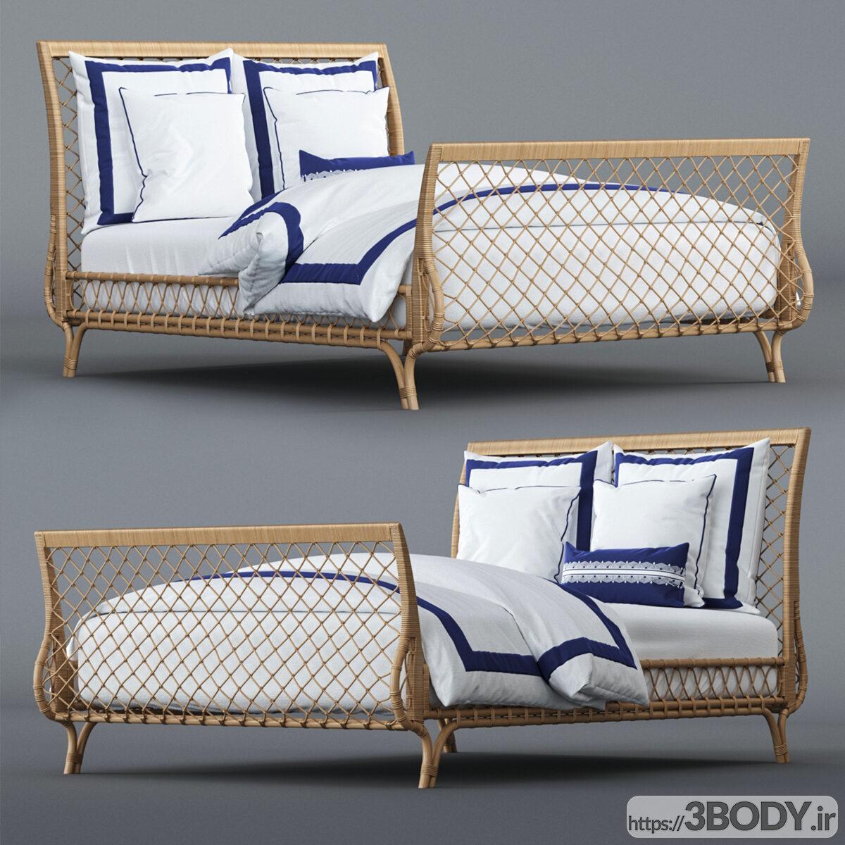 آبجکت سه بعدی تختخواب ساحلی  سفید عکس 1