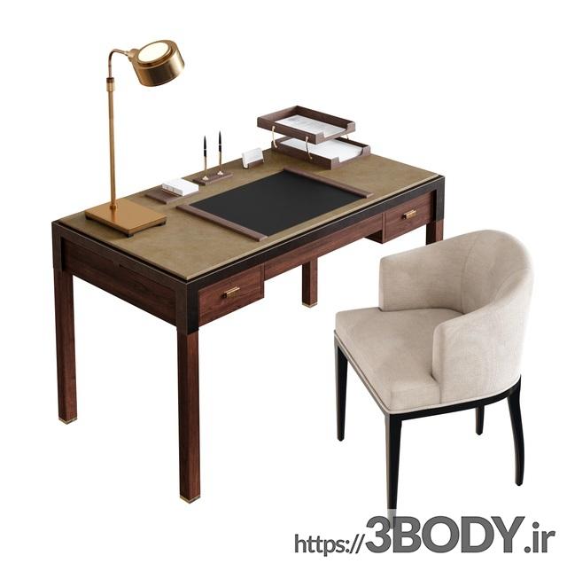 آبجکت سه بعدی میز و صندلی اداری عکس 2