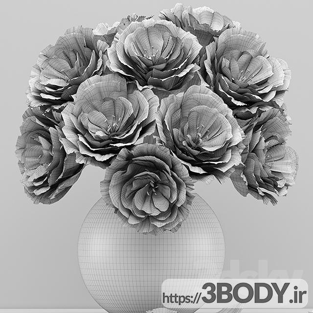 آبجکت سه بعدی دسته گل رز قرمز عکس 3
