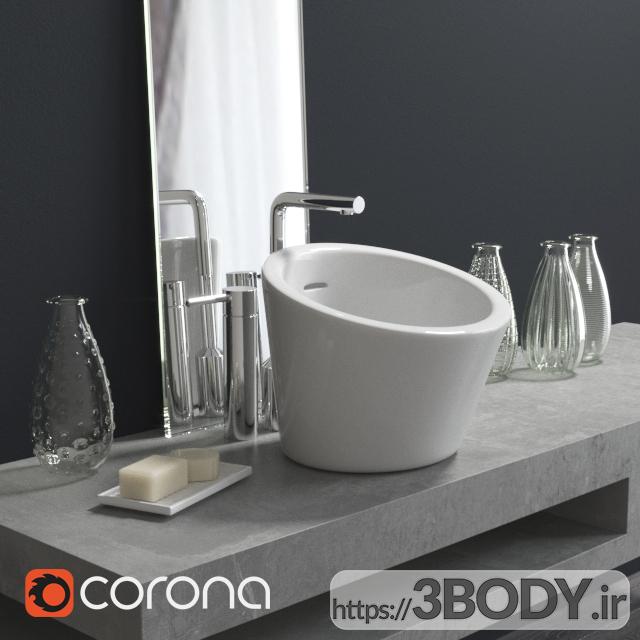 آبجکت سه بعدی دستشویی با دکوراسیون عکس 1