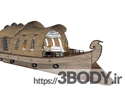پروژه آماده و صحنه خارجی ویلای چوبی برای اسکچاپ عکس 4