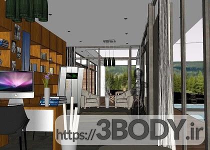 صحنه آماده فضای داخلی و خارجی ویلا برای اسکچاپ عکس 6