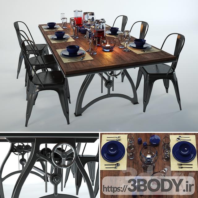 مدل ۳ بعدی میز و صندلی مجموعه  نهار خوری عکس 1