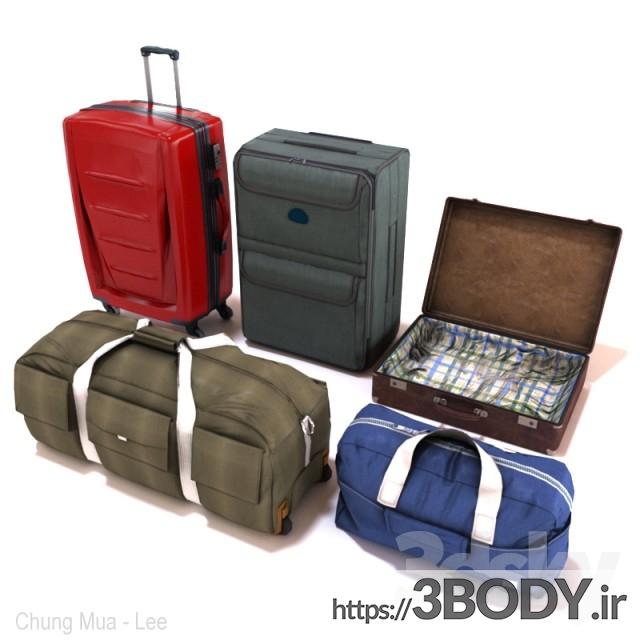 مدل سه بعدی مجموعه کیف و چمدان عکس 2