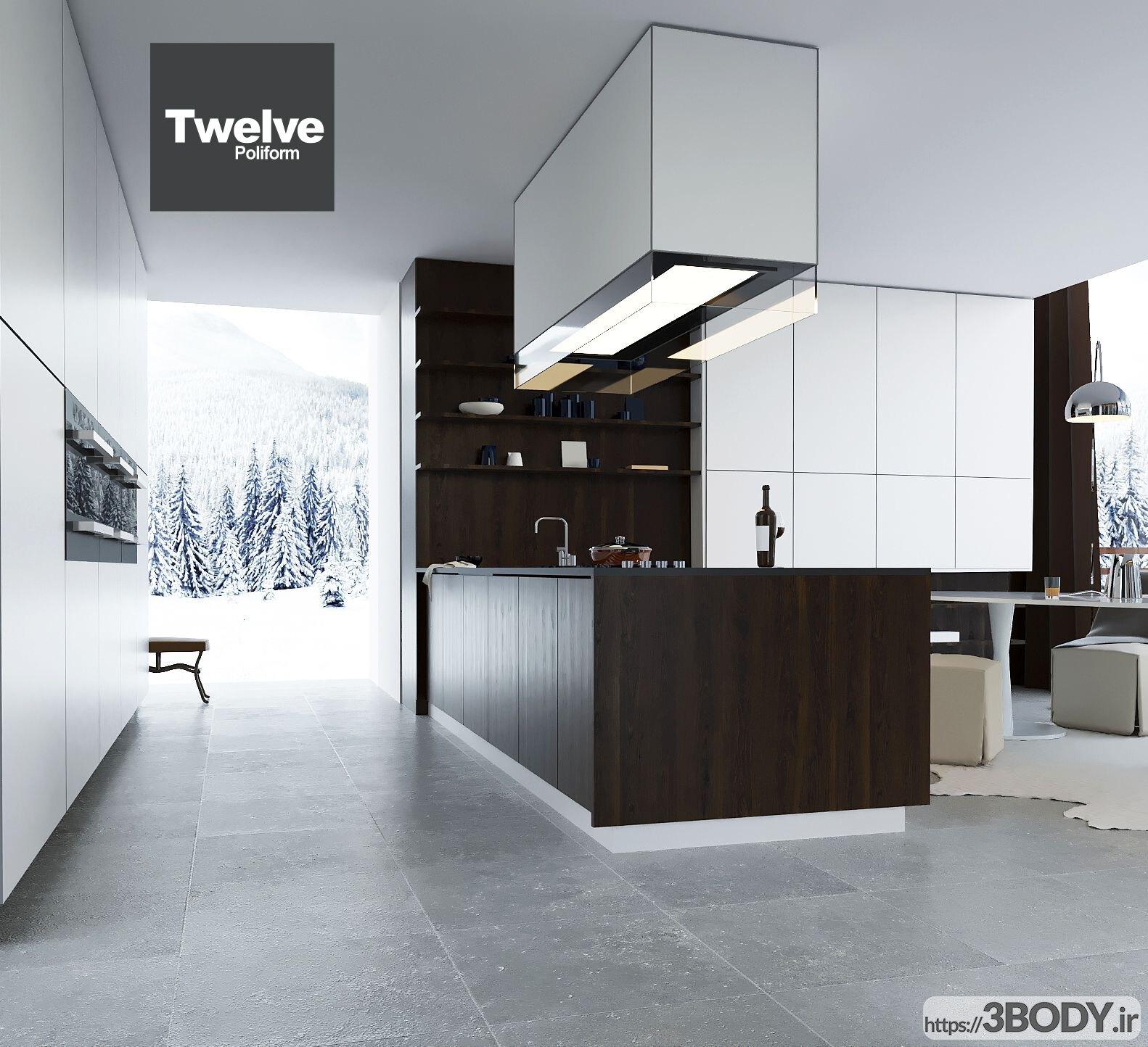 مدل سه بعدی دکوراسیون آشپزخانه عکس 4