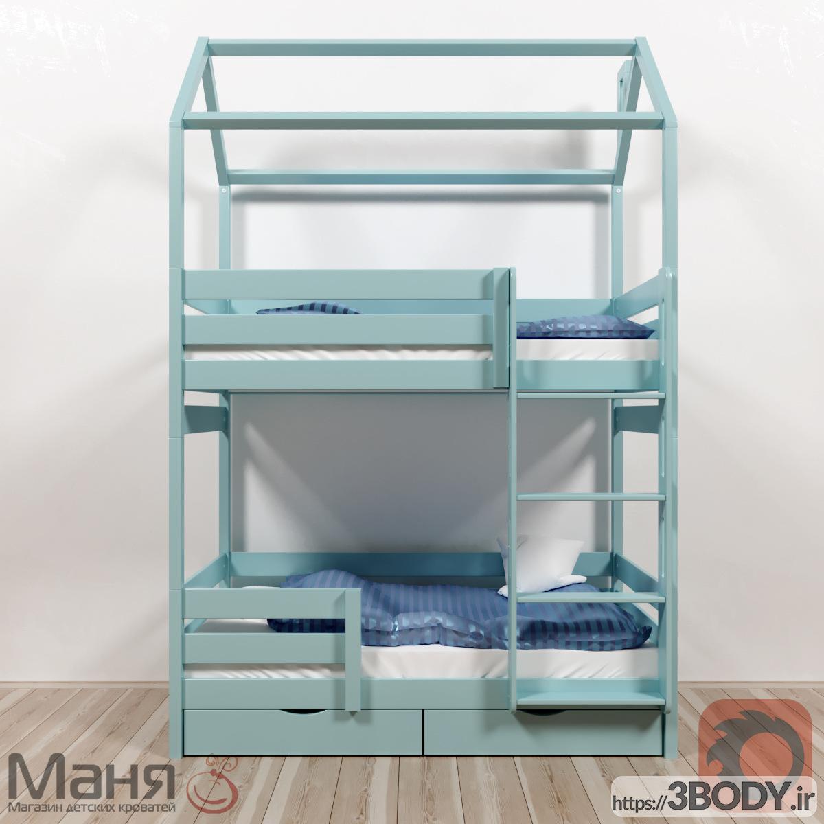 مدل سه بعدی تخت خواب بچه تخت دو طبقه عکس 2