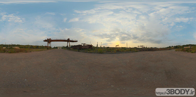 فایل HDRI آسمان در ایستگاه حمل بار عکس 1