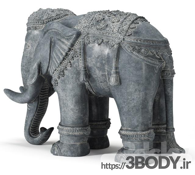 مدل سه بعدی مجسمه سنگی فیل عکس 3