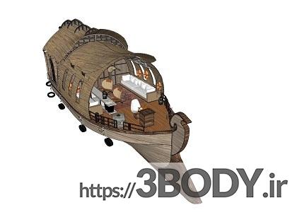 پروژه آماده و صحنه خارجی ویلای چوبی برای اسکچاپ عکس 6