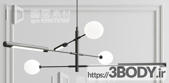 آبجکت سه بعدی  لوستر سقفی توپی عکس 1