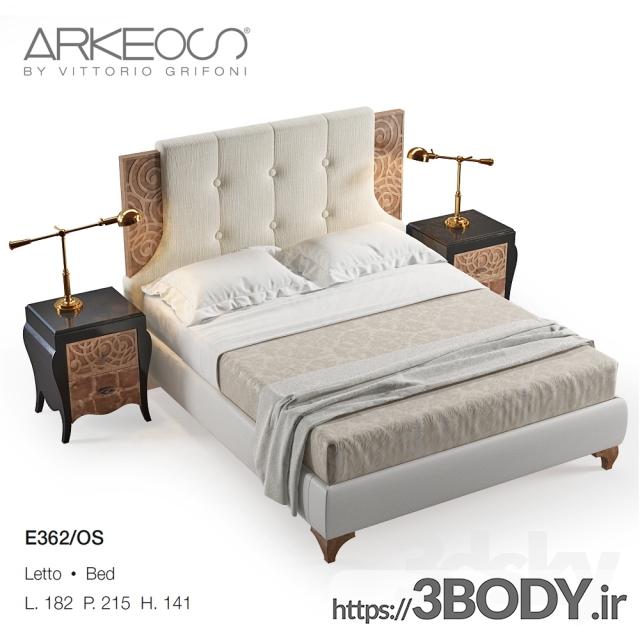 آبجکت سه بعدی تخت خواب  سفید عکس 1
