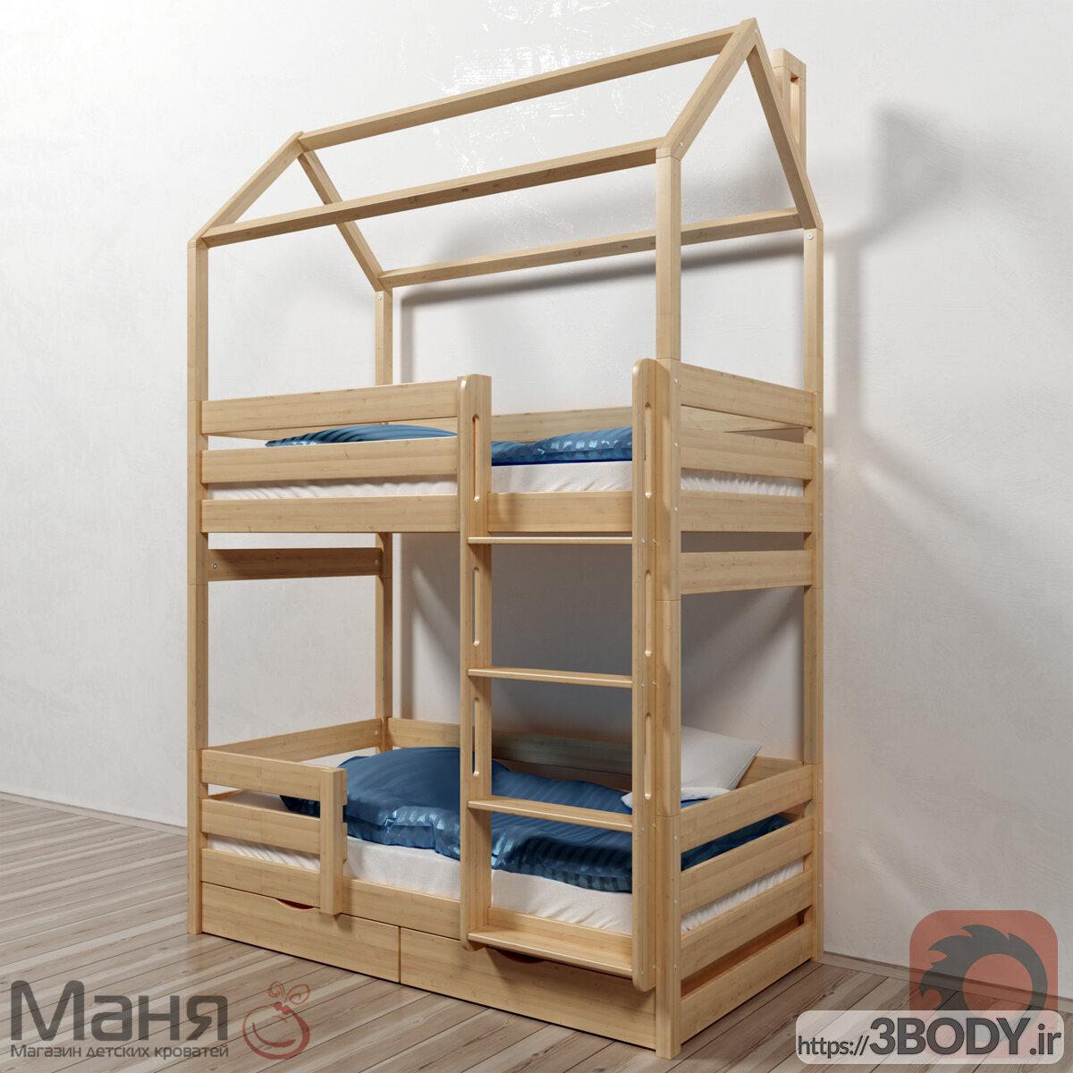 مدل سه بعدی تخت خواب بچه تخت دو طبقه عکس 1