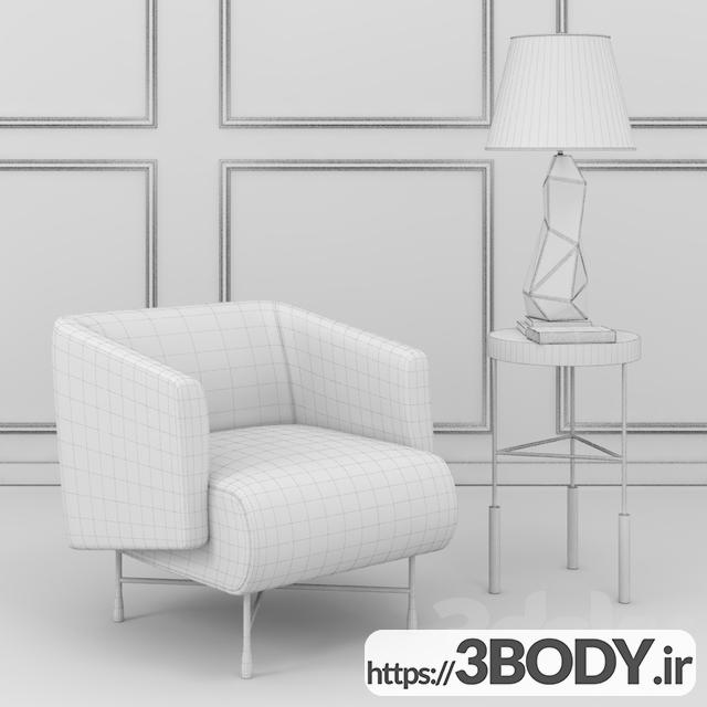 آبجکت سه بعدی  مبل راحتی سفید عکس 2