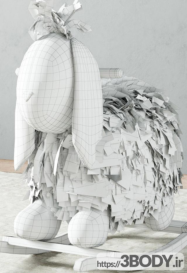 مدل سه بعدی اسباب بازی کودک حیوان دست اموز راکشی مخمل خواب دار عکس 2