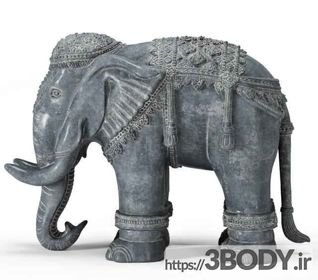 مدل سه بعدی مجسمه سنگی فیل عکس 4