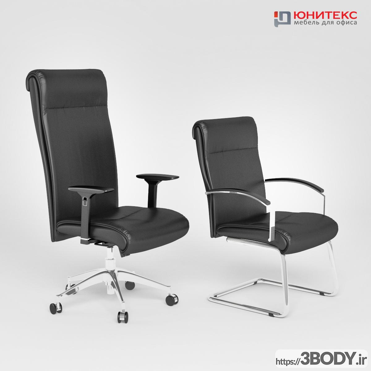 آبجکت سه بعدی میزو صندلی و کابینت اداری عکس 2