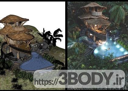 صحنه خارجی ویلا و کلبه چوبی محلی برای sketchupt عکس 3