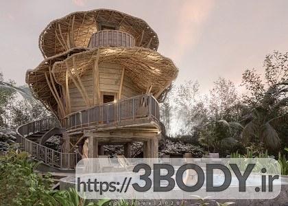 صحنه خارجی ویلا و کلبه چوبی محلی برای sketchupt عکس 6