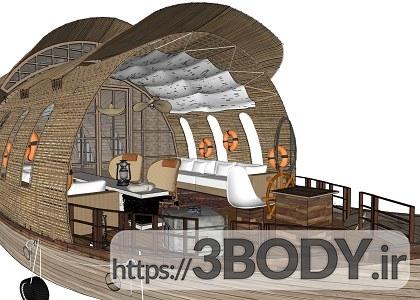 پروژه آماده و صحنه خارجی ویلای چوبی برای اسکچاپ عکس 7