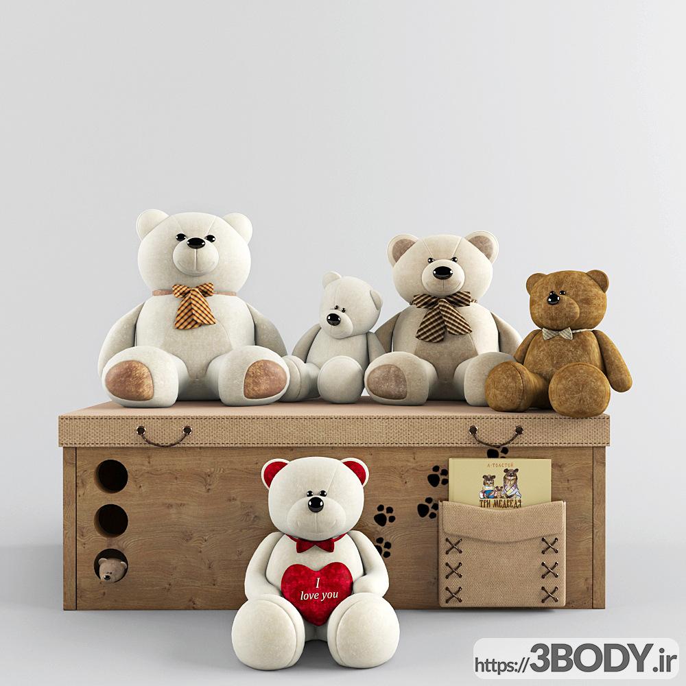 مدل سه بعدی اسباب بازی کودک ست خرس عکس 1