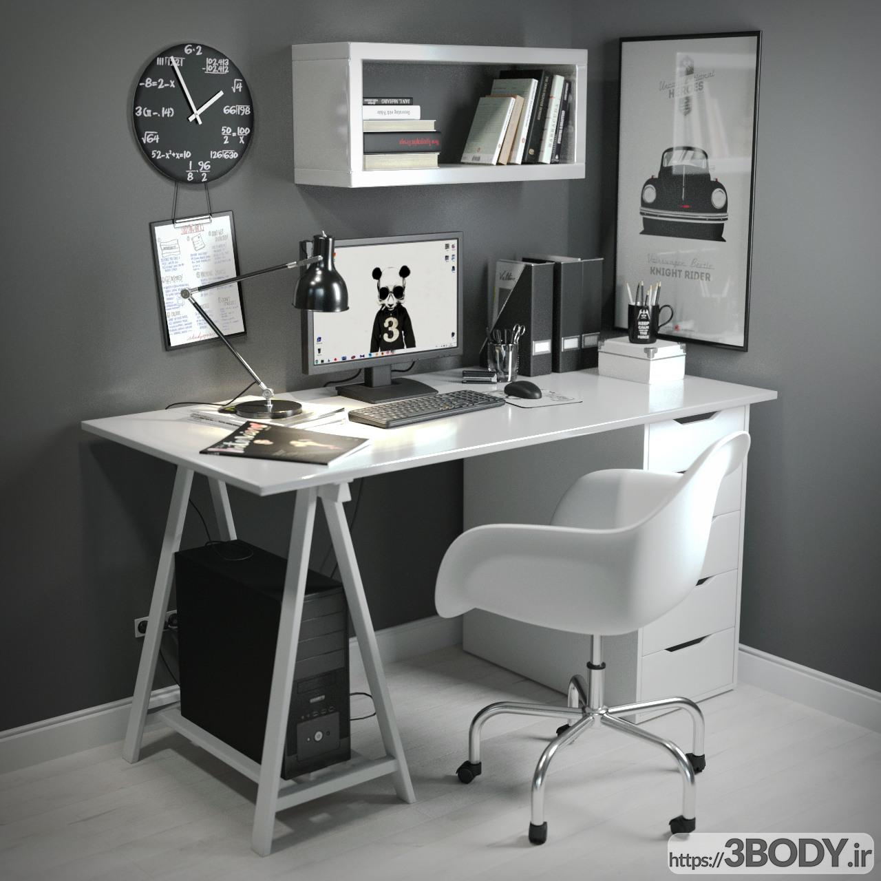 آبجکت سه بعدی میز و صندلی کار  سفید عکس 1
