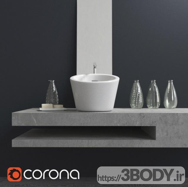 آبجکت سه بعدی دستشویی با دکوراسیون عکس 2