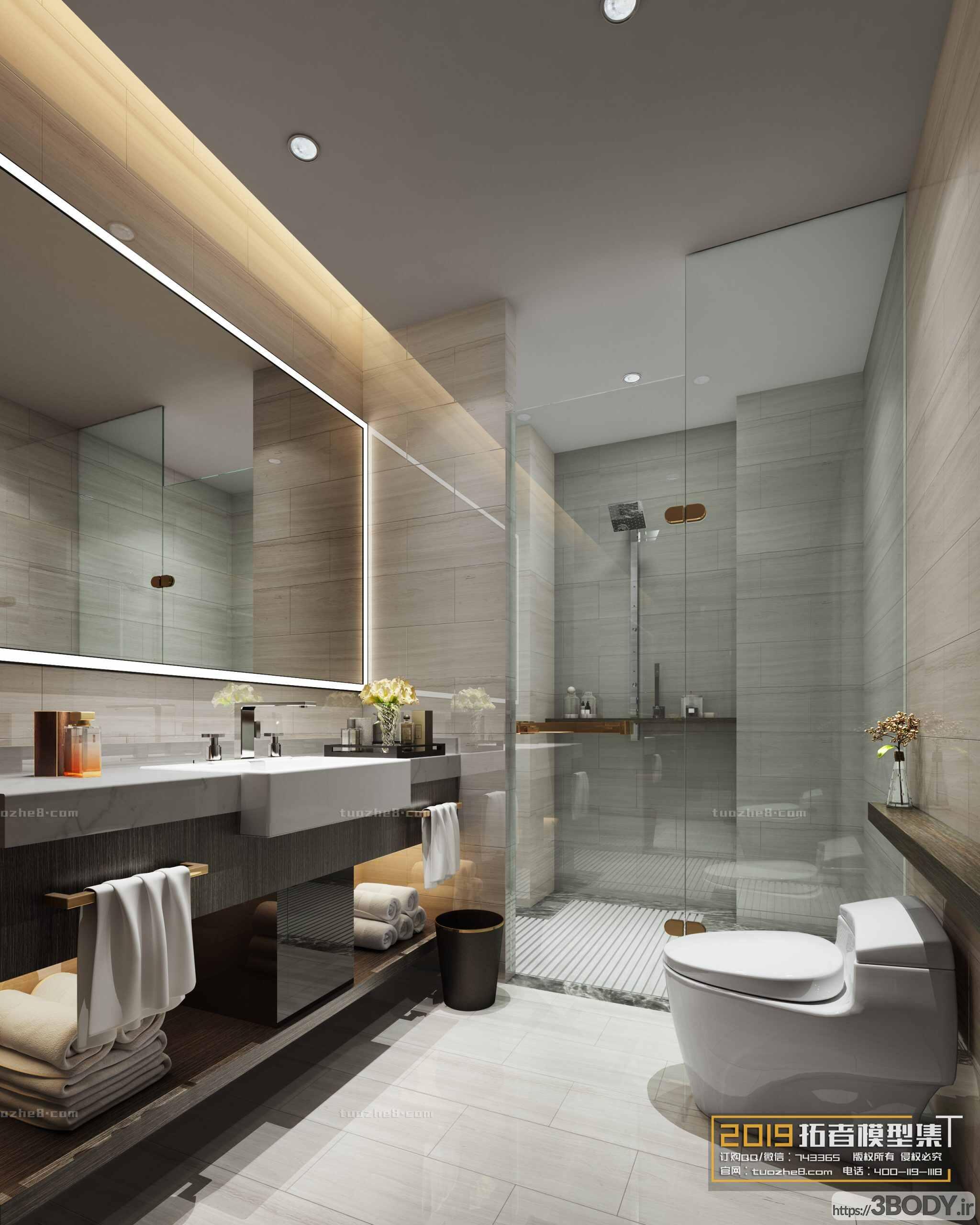 صحنه اماده رندر حمام و سرویس بهداشتی عکس 1