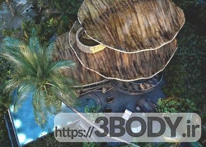 صحنه خارجی ویلا و کلبه چوبی محلی برای sketchupt عکس 5