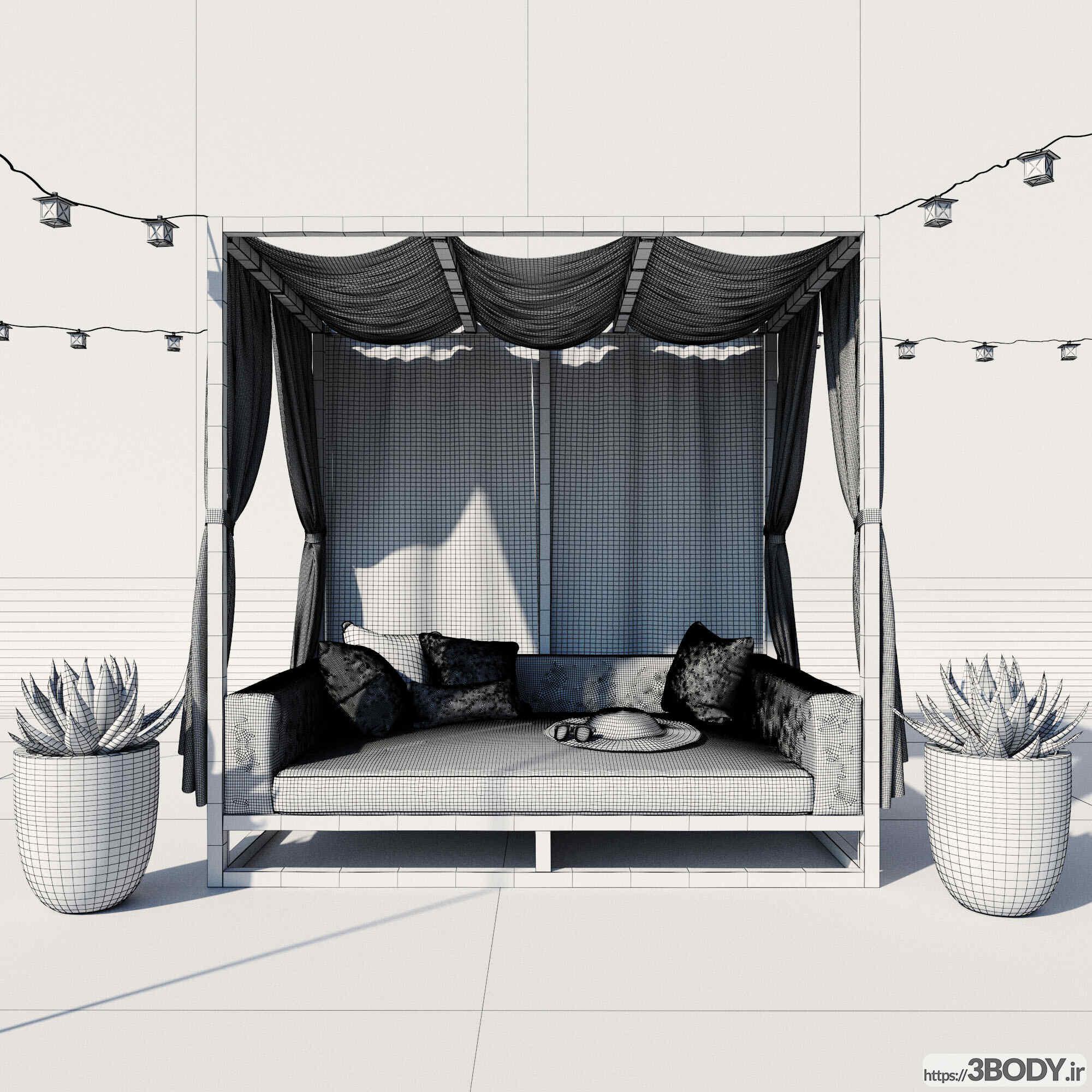آبجکت سه بعدی سایبان  سفید عکس 2