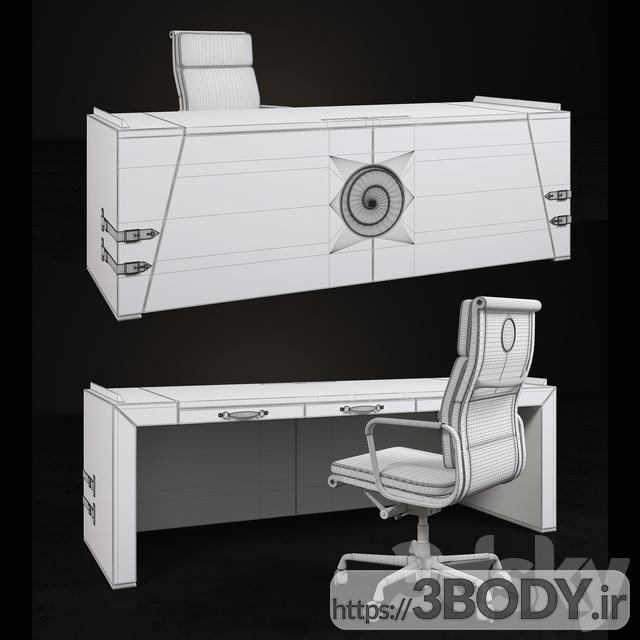 آبجکت سه بعدی میز و صندلی عکس 3