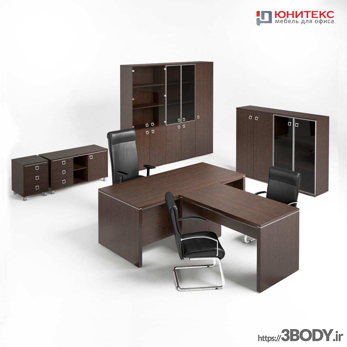 آبجکت سه بعدی میزو صندلی و کابینت اداری عکس 3