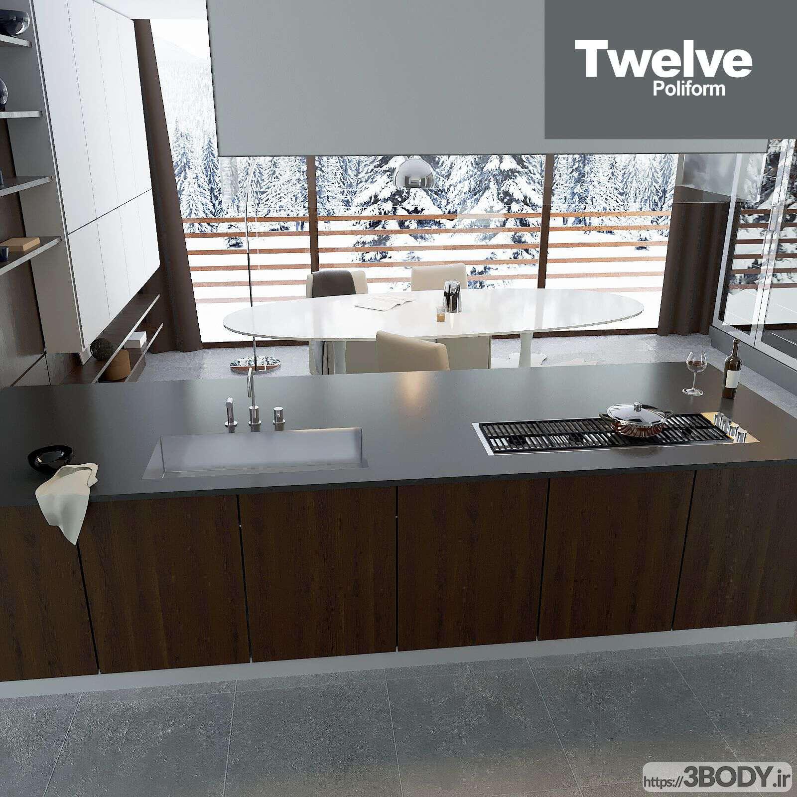 مدل سه بعدی دکوراسیون آشپزخانه عکس 3