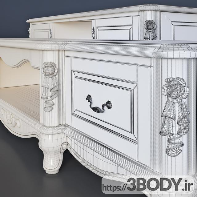 آبجکت سه بعدی میز تلویزیون کلاسیک عکس 3