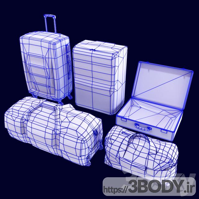 مدل سه بعدی مجموعه کیف و چمدان عکس 3