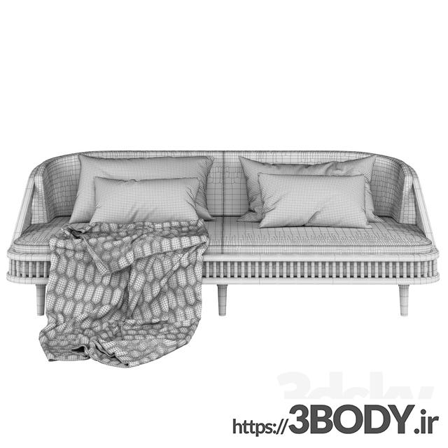 آبجکت سه بعدی  کاناپه سرمه ای عکس 2