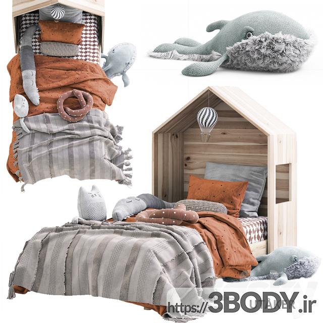 آبجکت سه بعدی اتاق کودک تخت خواب کودک عکس 1