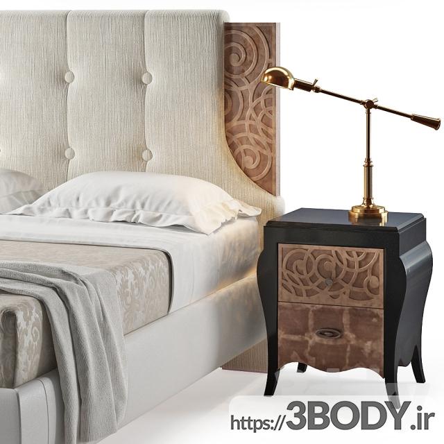 آبجکت سه بعدی تخت خواب  سفید عکس 3