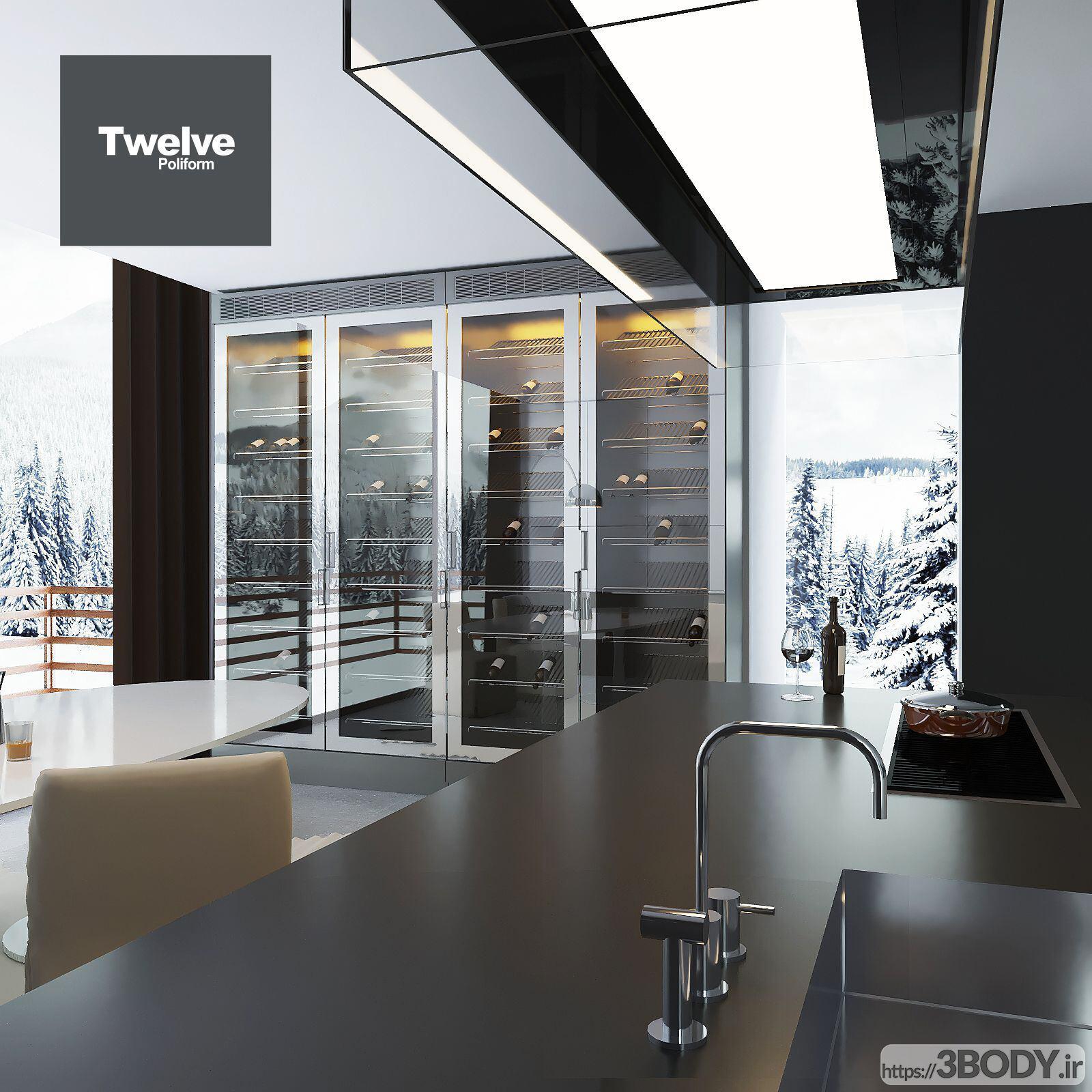 مدل سه بعدی دکوراسیون آشپزخانه عکس 2