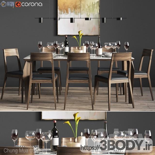 آبجک ۳ بعدی  میز و صندلی مجموعه ناهار خوری عکس 1