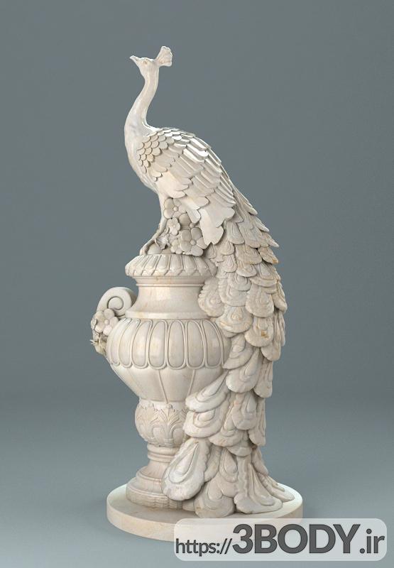 آبجکت سه بعدی مجسمه طاووس عکس 1