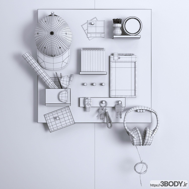 آبجکت سه بعدی لوازم روی میز کار عکس 2