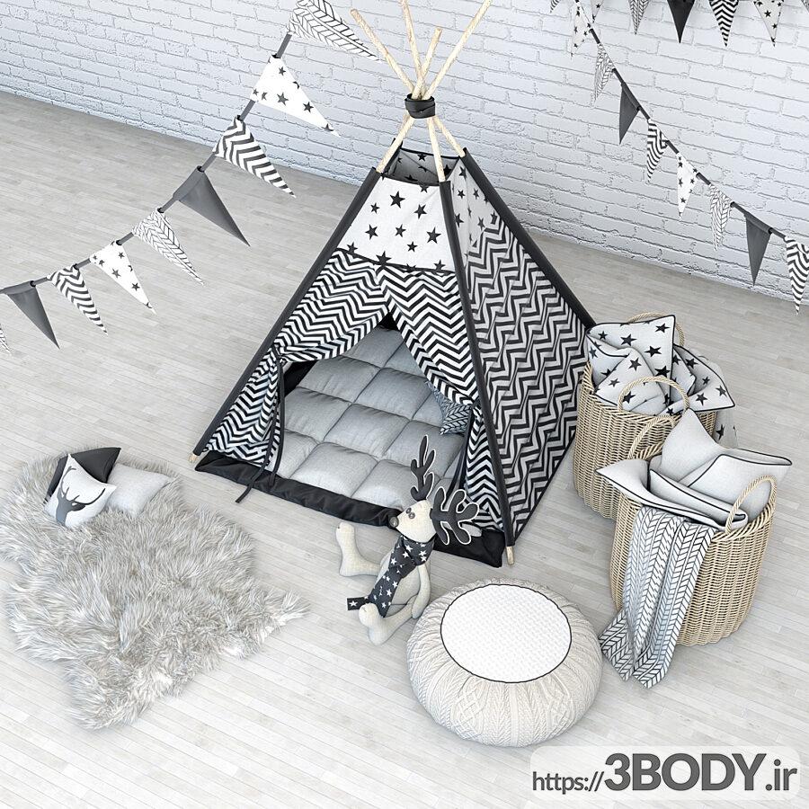 مدل سه بعدی اتاق کودک تخت خواب کودک عکس 2